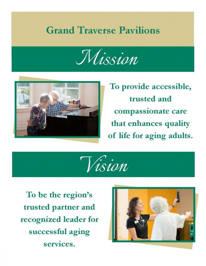 Mission: To provide accessible, trusted and compassionate care that enhances quality of life for aging adults.  Vision: To be the region's trusted partner and recognized leader for successful aging services.